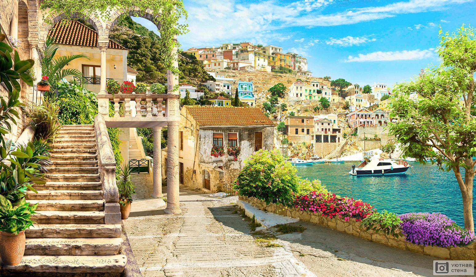 Городок у моря  № 162699 бесплатно