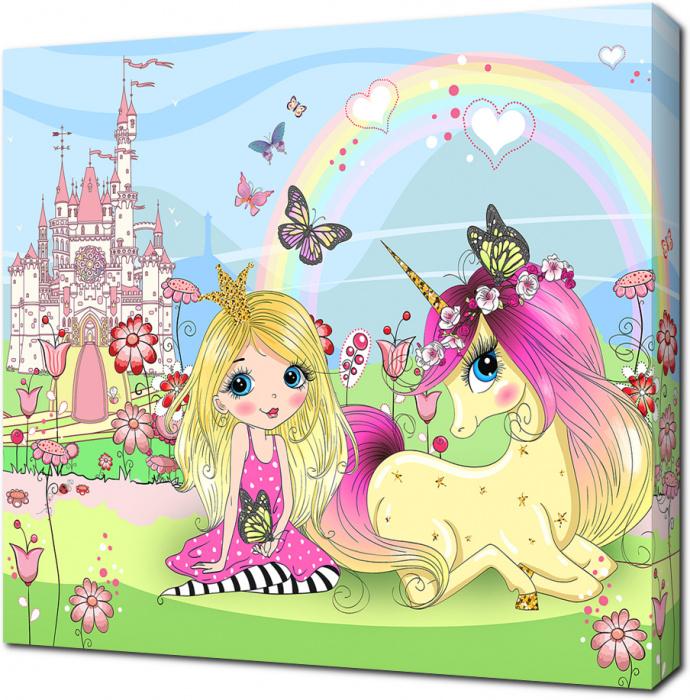 Картина на холсте Принцесса с единорогом: - Арт. 501051 ...
