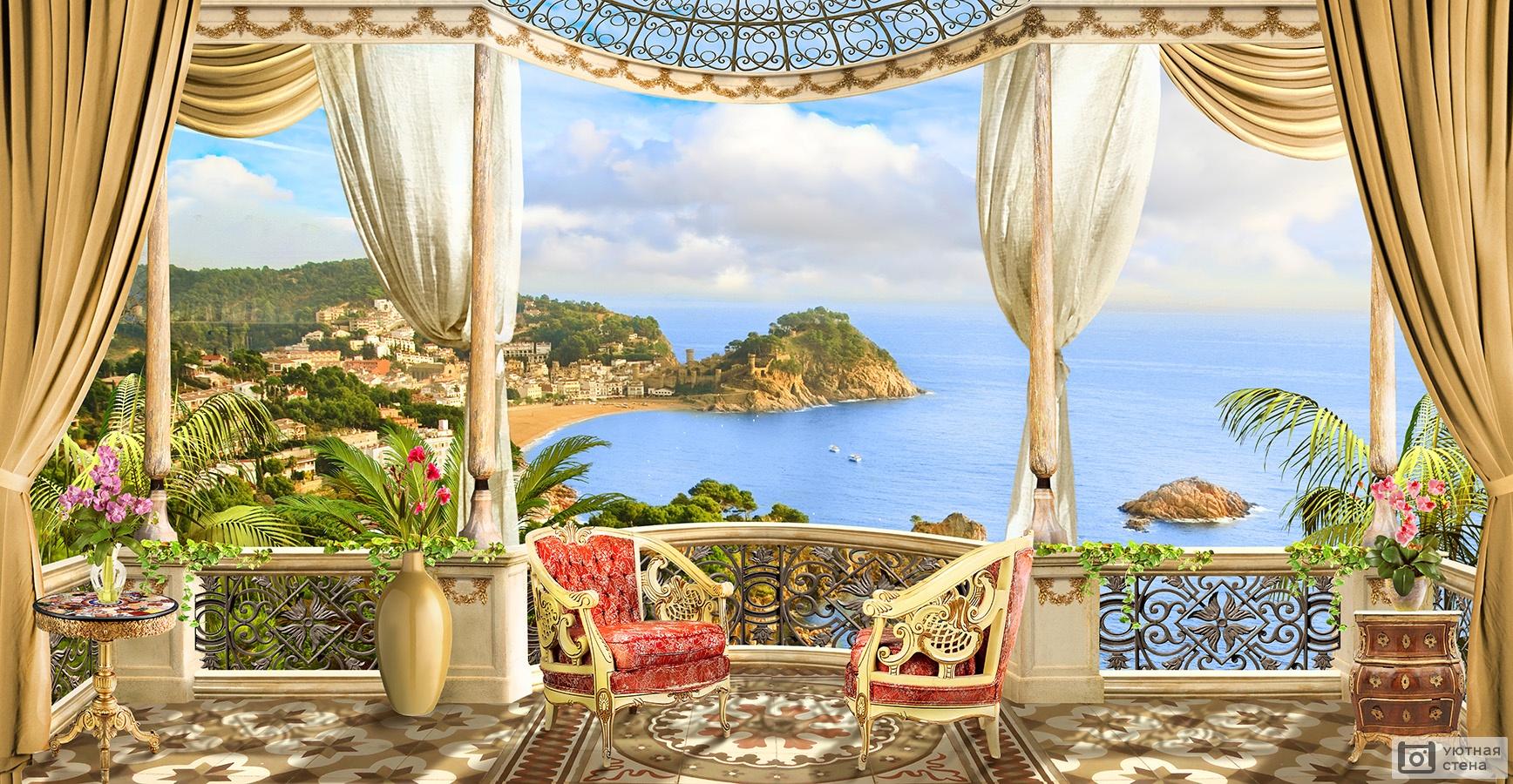 "Фотообои ""балкон с видом на море в классическом стиле"" - арт."