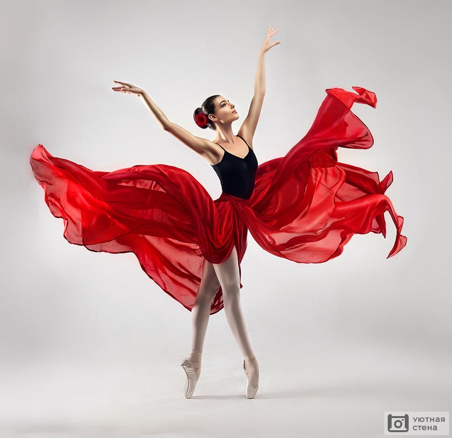 Фотообои балерина в красном