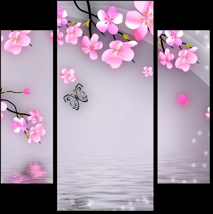 Модульная картина 3D Цветущая ветка и бабочки: - Арт ...  Цветущая Сакура Png