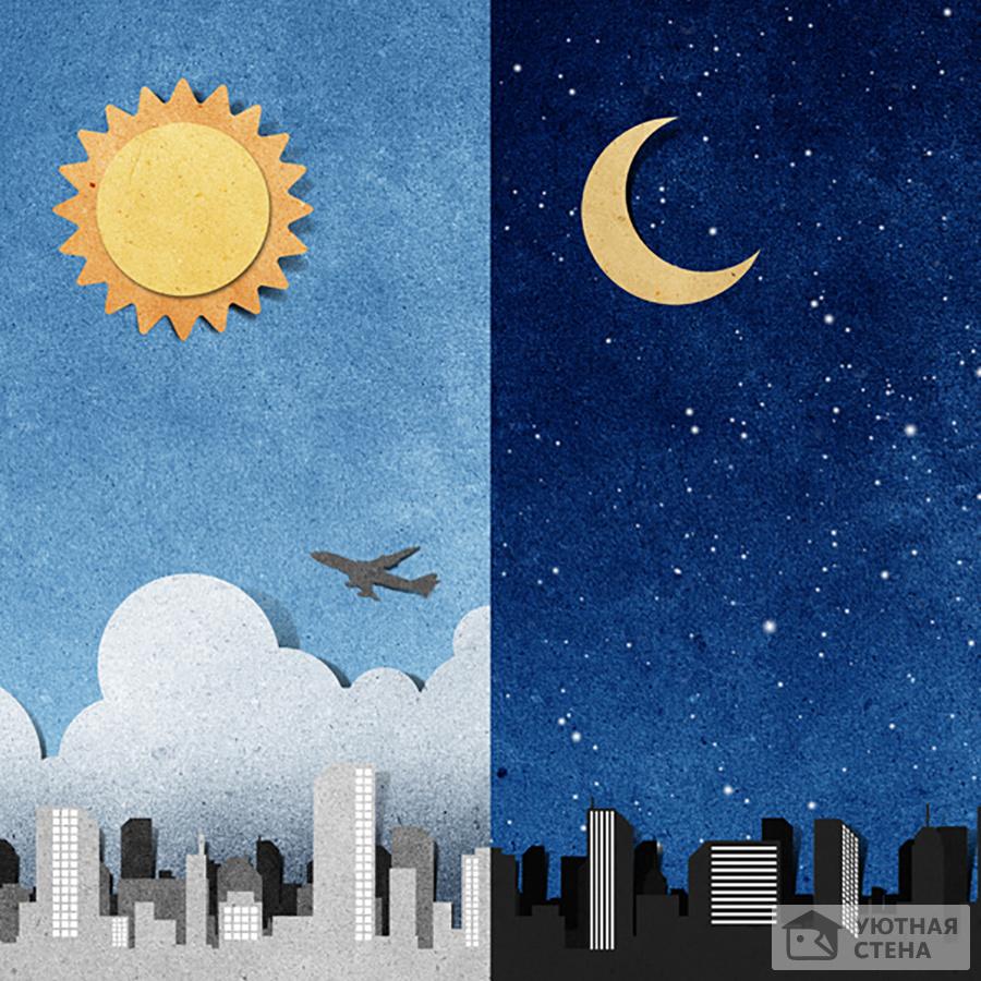 Смена дня и ночи в картинках для детей